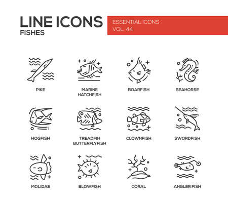 butterflyfish: Fishes - set of modern vector plain line design icons and pictograms. Pike, marine hatchfish, boarfish, seahorse, hogfish, treadfin butterflyfish, clownfish, swordfish, molidae, blowfish coral angler fish