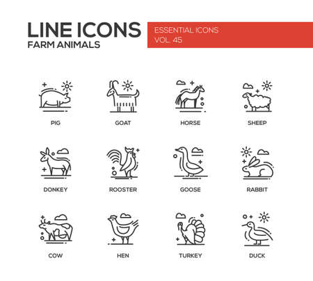 turkey hen: Farm animals - set of modern vector plain line design icons and pictograms. Pig, goat, horse, sheep, donkey, rooster, goose, rabbit, cow hen turkey duck