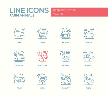 pet breeding: Farm animals - set of modern vector plain line design icons and pictograms. Pig, goat, horse, sheep, donkey, rooster, goose, rabbit, cow hen turkey duck