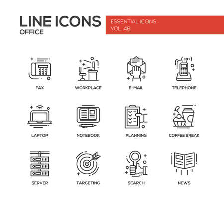 Set of modern vector office line design icons and pictograms. Fax, workplace, e-mail, telephone, laptop, notebook, planning, coffee break, sever targeting search news