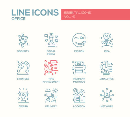 business finance: Set of modern vector business, finance, office plain line design icons and pictograms. Security, social media, mission, idea, strategy, time management, payment methods, analytics, award delivery location network