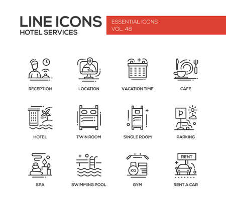 rent: Hotel services - set of modern vector plain line design icons and pictograms. Reception, location, vacation time, cafe, twin, single room, parking, spa, swimming pool, gym, rent a car