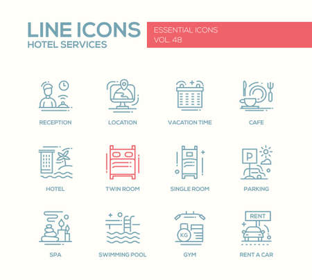 gym room: Hotel services - set of modern vector plain line design icons and pictograms. Reception, location, vacation time, cafe, twin, single room, parking, spa, swimming pool, gym, rent a car