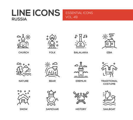 kremlin: Russian national symbols - set of modern vector plain line design icons and pictograms. Church, folk, balalaika, izba, nature, bear, kremlin, traditional costume, snow, samovar history sailboat