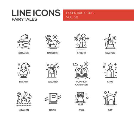 adventure story: Fairy Tales - set of modern vector plain line design icons and pictograms. Dragon, unicorn, knight, castle, dwarf, wizard, pumpkin carriage, king, kraken book owl cat