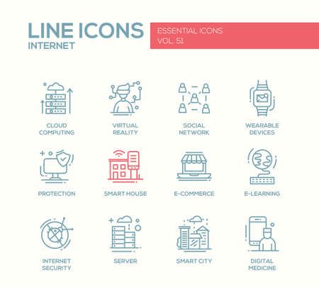 internet protection: Internet - set of modern vector plain line design icons and pictograms. Cloud computing, virtual reality, social network, wearable devices, protection, smart house, e-commerce, e-learning, security, digital medicine Illustration