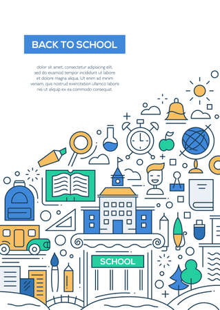 Student Life: Back to School - vector line design brochure poster, flyer presentation template, A4 size layout Illustration