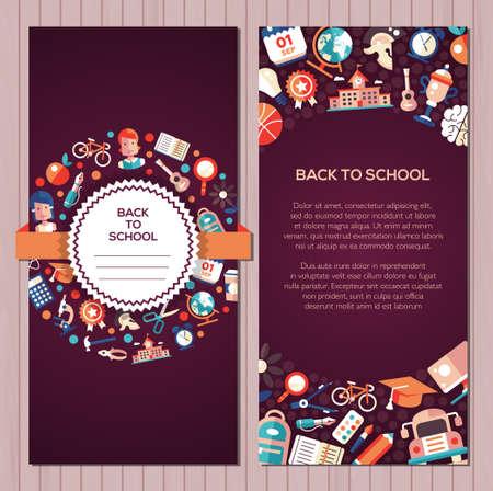 Terug naar school briefkaartsjabloon van vector school, universiteit vlakke design iconen en infographics elementen Stockfoto - 61586996