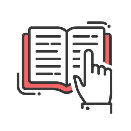 Schule und Ausbildung Vektor flaches Design einzelnen isolierten Symbol, Piktogramm. Ein Buch lesen