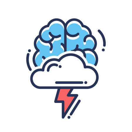 brain storm: Brainstorming vector flat design single isolated icon, pictogram. Brain with cloud and flashlight Illustration