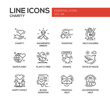 accommodation: Charity - modern vector line design icons and pictograms set. Awareness ribbon, donation, help children, safe planet, plant a tree, dove of peace, happy family, blood donation, financial, accommodation help Illustration