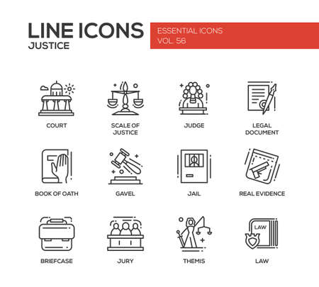 oath: Justice - modern vector plain line design icons and pictograms set. Court, judge, legal document, book of oath, gavel, jail, real evidence, jury, briefcase themis law Illustration