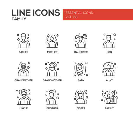 elder tree: Family - modern vector plain line design icons and pictograms set. Father, mother, sister, brother, daughter, son, grandmother grandfather baby aunt uncle Illustration