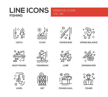 spring balance: Fishing - modern vector plain line design icons and pictograms set. Catch, float, rod, spring balance, boat, fisherman, lure, spinning hook net haul