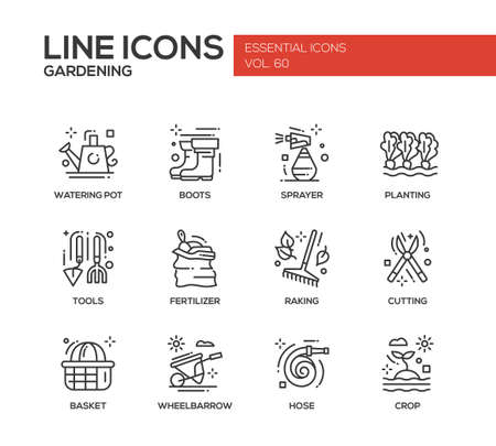 gardening hose: Gardening - modern vector plain line design icons and pictograms set. Watering pot, boots, sprayer, planting, tools, fertilizer, raking, cutting basket wheelbarrow hose crop