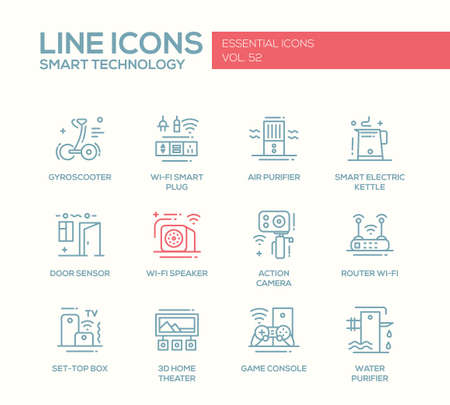 sensor: Smart Technology - modern vector plain line design icons and pictograms set. Gyrosooter, smart plug, air, water purifier, smart electric kettle, door sensor, router, set-top box, home theater, game console Illustration