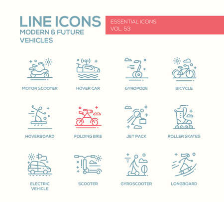 motor scooter: Modern and Future Vehicle - modern vector plain line design icons and pictograms set. Motor scooter, folding bike, gyropode, bicycle, hoverbord, hover car, jet pack, roller scates, scooter, gyroscooter, longboard
