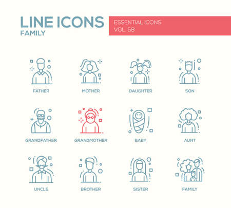 grampa: Family - modern vector plain line design icons and pictograms set. Father, mother, sister, brother, daughter, son, grandmother grandfather baby aunt uncle Illustration