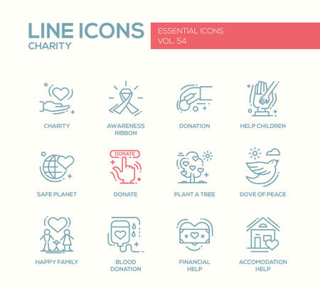 Charity - modern vector line design icons and pictograms set. Awareness ribbon, donation, help children, safe planet, plant a tree, dove of peace, happy family, blood donation, financial, accommodation help Illustration