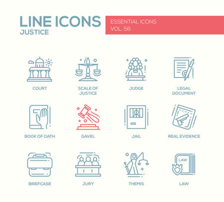 jurado: Justicia - vector moderna línea de iconos del diseño liso y pictogramas establecidos. Corte, juez, documento legal, libro de juramento, mazo, cárcel, pruebas reales, jurado, ley maletín THEMIS