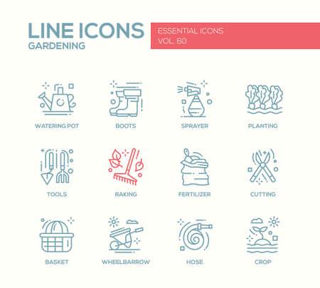 crop sprayer: Gardening - modern vector plain line design icons and pictograms set. Watering pot, boots, sprayer, planting, tools, fertilizer, raking, cutting basket wheelbarrow hose crop