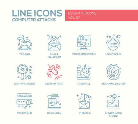 ddos: Computer Attacks - modern vector plain line design icons and pictograms set. Trojan, e-mail malware, worm, ddos, software bug, logic bomb, firewall, scanning system, password, data loss, phishing, credit card fraud Illustration