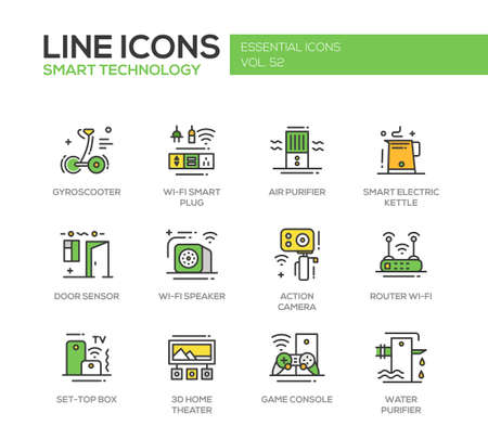 box design: Smart Technology - modern vector line design icons and pictograms set. Gyrosooter, smart plug, air, water purifier, smart electric kettle, door sensor, router, set-top box, home theater, game console