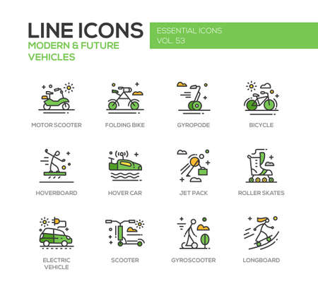 motor scooter: Modern and Future Vehicle - modern vector line design icons and pictograms set. Motor scooter, folding bike, gyropode, bicycle, hoverbord, hover car, jet pack, roller scates, scooter, gyroscooter, longboard