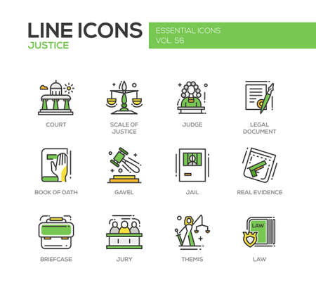 Justice - modern vector line design icons and pictograms set. Court, judge, legal document, book of oath, gavel, jail, real evidence, jury, briefcase themis law