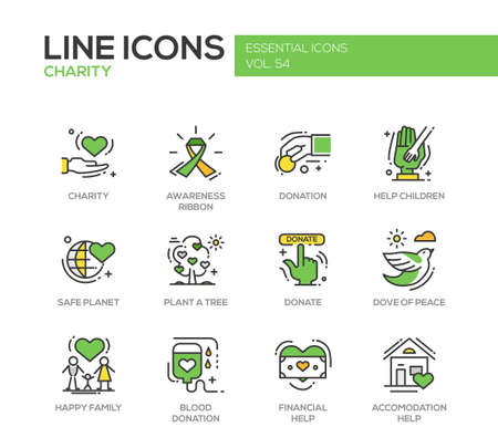plant tree: Charity - modern vector line design icons and pictograms set. Awareness ribbon, donation, help children, safe planet, plant a tree, dove of peace, happy family, blood donation, financial, accommodation help Illustration