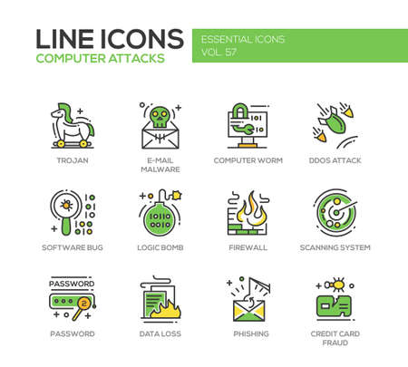 ddos: Computer Attacks - modern vector line design icons and pictograms set. Trojan, e-mail malware, worm, ddos, software bug, logic bomb, firewall, scanning system, password, data loss, phishing, credit card fraud