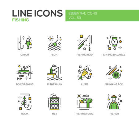 haul: Fishing - modern vector line design icons and pictograms set. Catch, float, rod, spring balance, boat, fisherman, lure, spinning hook net haul Illustration