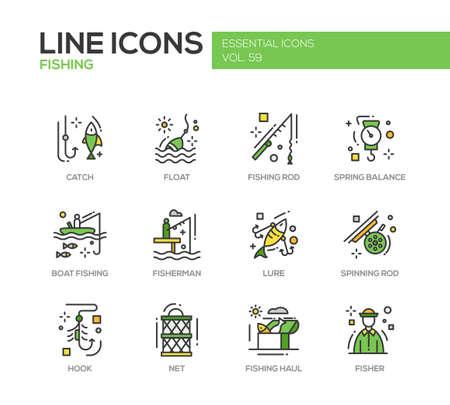Vissen - moderne vector line design iconen en pictogrammen in te stellen. Catch, vlotter, staaf, veerbalans, boot, visser, lokmiddel, spinnen haak netto-haul Stock Illustratie