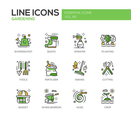gardening hose: Gardening - modern vector line design icons and pictograms set. Watering pot, boots, sprayer, planting, tools, fertilizer, raking, cutting basket wheelbarrow hose crop
