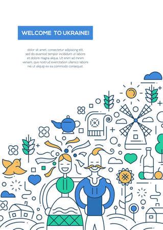 ukraine: Welcome to Ukraine- vector line design brochure poster, flyer presentation template, A4 size layout. National Ukrainian symbols