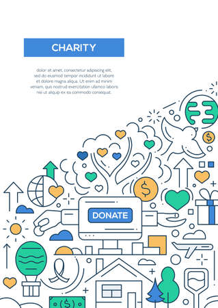 charities: Charity - vector line design brochure poster, flyer presentation template, A4 size layout. Illustration