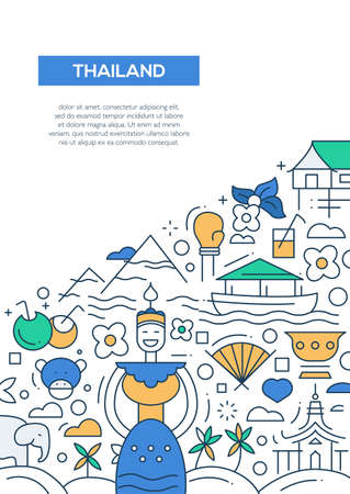 thailand food: Welcome to Thailand - vector line design brochure poster, flyer presentation template, A4 size layout. National Thai symbols Illustration
