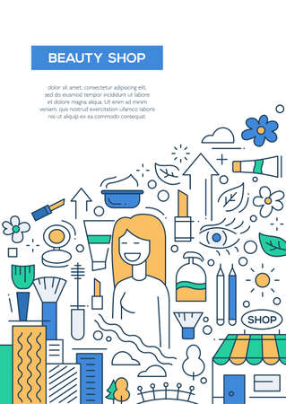 beauty shop: Beauty shop - vector line design brochure poster, flyer presentation template, A4 size layout.