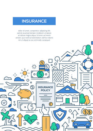Insurance - vector line design brochure poster, flyer presentation template, A4 size layout.  イラスト・ベクター素材