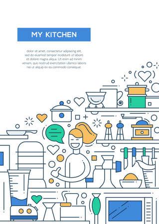 alumnos en clase: Mi línea del vector del cartel cocina- diseño de folletos, plantilla de presentación de folleto, diseño de tamaño A4. Mujer feliz con cosas de cocina Foto de archivo