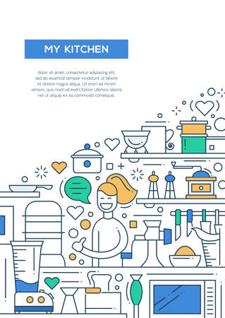 kitchen poster: My kitchen- vector line design brochure poster, flyer presentation template, A4 size layout. Happy woman with cooking things Stock Photo