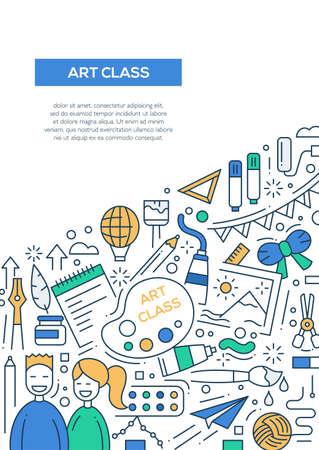 alumnos en clase: Art class - vector line design brochure poster, flyer presentation template, A4 size layout