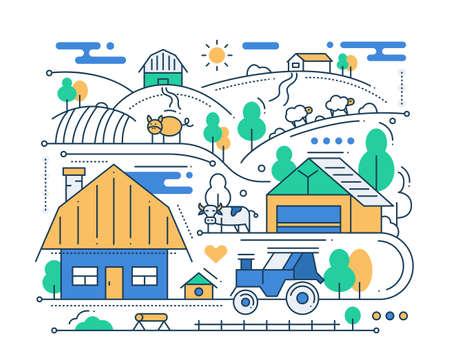 rural scene: Farm - vector modern line flat design city composition with rural scene Illustration