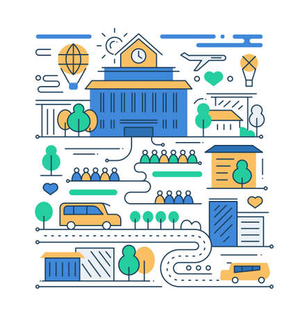 city life: City life - vector modern line flat design city composition with school building and people