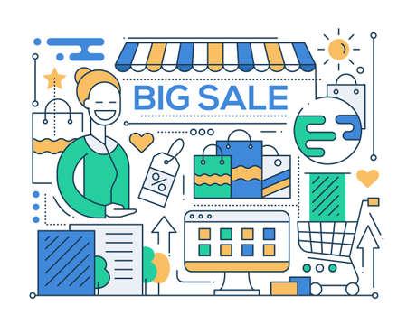 shop assistant: Big sale - vector modern line flat design city composition with a storefront and smiling shop assistant