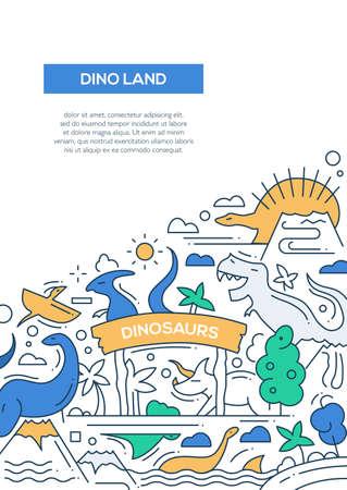 Dinoland - Vektor-Line-Design Broschüre Poster, Flyer Präsentationsvorlage, A4-Format Layout