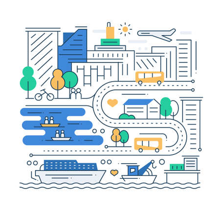 vida de la ciudad - vector línea de diseño moderno de la ciudad composición plana con paisaje urbano