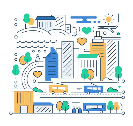 city life: City life - vector modern line flat design city composition with cityscape