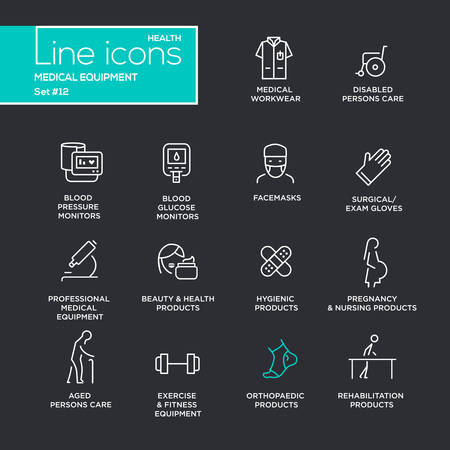 surgical: Medical equipment - set of modern vector plain simple thin line design icons and pictograms on black background. Medical workwear, blood pressure monitor, beauty, pregnancy, orthopaedic product