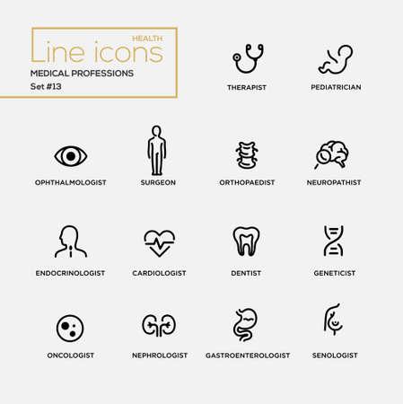 Les professions médicales - ensemble de vecteur moderne épuré simples icônes et pictogrammes de conception de ligne mince. Thérapeute, pédiatre, chirurgien, neuropathist, endocrinologue, cardiologue, dentiste, oncologue Banque d'images - 62434539